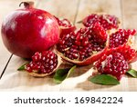Pomegranate With Leafs On...