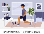 stay home  keep fit and... | Shutterstock .eps vector #1698431521