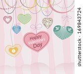 pale pink valentines day card... | Shutterstock .eps vector #169843724