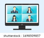 4 panels online virtual remote... | Shutterstock .eps vector #1698509857