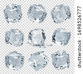 Small photo of Melting clear ice cubes on isolated transparent background including clipping path. Collection of various crystal clear ice cubes.