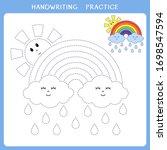 handwriting practice sheet.... | Shutterstock .eps vector #1698547594