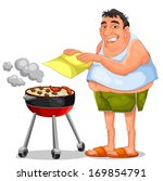 man making a barbecue  | Shutterstock . vector #169854791