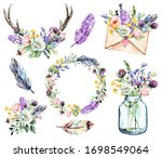 Set Watercolor Painting  Floral ...