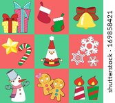 christmas sticker and vector... | Shutterstock . vector #169858421