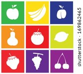 Set of Flat Design Fruits Square Icons Like Apple, Banana, Grape, Lemon, Plum, Pear, Tomato, Strawberry, Cherry.