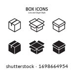 box icon set. delivery package  ...