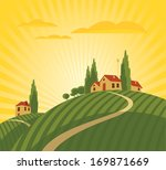 landscape with vineyard and... | Shutterstock .eps vector #169871669