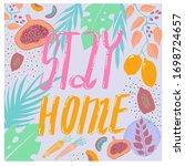 stay home badge lettering...   Shutterstock . vector #1698724657