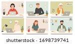 work with laptop computer....   Shutterstock .eps vector #1698739741