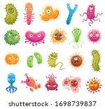 cartoon bacteria mascot. virus... | Shutterstock .eps vector #1698739837