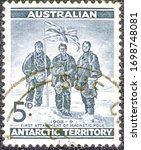 Small photo of Australia - circa 1959: Postage stamp printed in Australia with a picture of Alistair McKay, Edgeworth David and Douglas Mawson at the South pole on January 16, 1909. Ernest Shackleton expedition