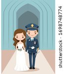 cute bride and military groom... | Shutterstock .eps vector #1698748774