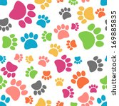 Stock vector vector colorful seamless paw pattern separate layers for easy editing 169885835