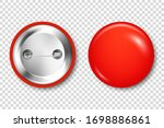 realistic red blank badge. 3d... | Shutterstock .eps vector #1698886861
