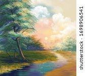 digital art painting landscape  ...   Shutterstock . vector #1698906541