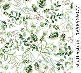 forest green leaves  white... | Shutterstock .eps vector #1698926077