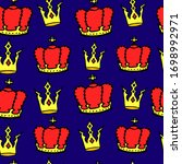 doodle crowns seamless pattern. ... | Shutterstock .eps vector #1698992971