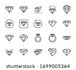 line diamond icon set isolated...