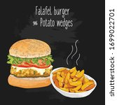 hand drawn colorful falafel...   Shutterstock .eps vector #1699022701