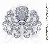 Line Art Octopus In Ethnic...