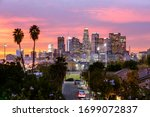 Los Angeles Downtown Skyline At ...
