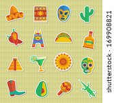 set of mexican themed sticker... | Shutterstock .eps vector #169908821