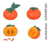 Set Of Ripe Persimmon Fruits...