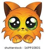 Cute Cartoon Red Kitten On...