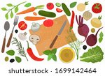 a set of elements for cooking.... | Shutterstock .eps vector #1699142464