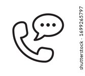 talking by phone icon. line...