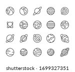 simple set of planet icons in... | Shutterstock .eps vector #1699327351
