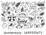 set of summer sale doodle... | Shutterstock .eps vector #1699355671