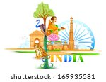 vector illustration of India Wallpaper - stock vector