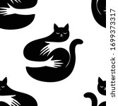 dark cat on mystical background.... | Shutterstock .eps vector #1699373317