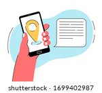 hand hold smartphone with... | Shutterstock .eps vector #1699402987