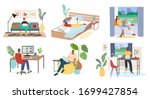 man and woman with laptops ... | Shutterstock .eps vector #1699427854