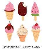 set of cute cartoon ice creams .... | Shutterstock .eps vector #1699456207
