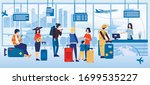 people waiting for ticket check ... | Shutterstock .eps vector #1699535227