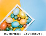 painted easter large and small... | Shutterstock . vector #1699555054