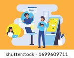 a freelance worker works at... | Shutterstock .eps vector #1699609711