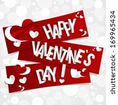 happy valentines day card with... | Shutterstock .eps vector #169965434