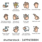 hand washing steps infographic  ... | Shutterstock .eps vector #1699658884