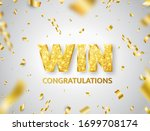 win golden glitter letters with ... | Shutterstock .eps vector #1699708174
