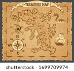 pirate treasure map on ruined... | Shutterstock .eps vector #1699709974