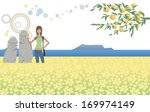 a lady stands near statues in a ... | Shutterstock . vector #169974149