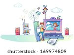 a man holding a very large...   Shutterstock . vector #169974809