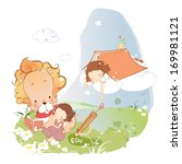 children and books with a large ... | Shutterstock . vector #169981121