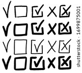 doodle check marks. hand drawn... | Shutterstock .eps vector #1699875001