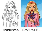 colouring book of girl in pink... | Shutterstock .eps vector #1699876141